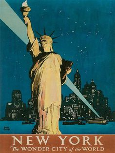 Vintage New York Poster Print with Statue of LIberty by Watcher1999, via Flickr