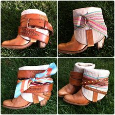 Old cowboy boots refashioned with belts