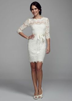This ultra-feminine lace dress will enrapture everyone on your special day! All over lace dress with illusion 3/4 sleeves is ultra-chic. Satin ribbon at the waist finishes off the look. Fully lined. Back zip. Imported. Dry clean only.