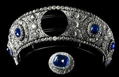 DIAMOND AND SAPPHIRE KOKOSHNIK TIARA~ The huge central cabochon ruby set in diamonds is a removable brooch.