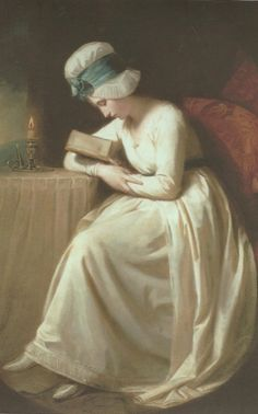 Serena Reading (c.1780-1785).George Romney (English, 1734-1802). Oil on canvas.Harris Museum & Art Gallery. Serena Reading shows the heroine from a poem called 'Triumphs of Temper' by William Hayley, a close friend of Romney. The poem tells how Serena became so engrossed in a book that she read all through the night.Daylight is breaking and her candle has burnt down.