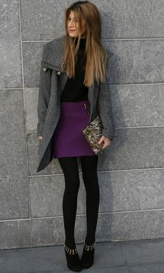 coat, skirt, shoes