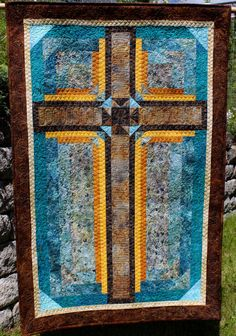 Cross Quilt  Cross in Stone and Gold  3 sizes by QuiltPatterns