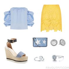 Ootd Stuff With Bardot Top Yellow Skirt See By Chloé Sandals And Polka Dot Purse From July 2016 #outfit #look