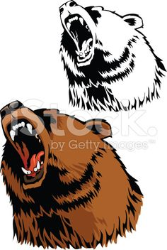 Roar des Grizzly cliparts vectoriels libres de droits