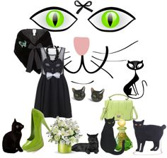 """""""cat look"""" by a-dambasi ❤ liked on Polyvore"""