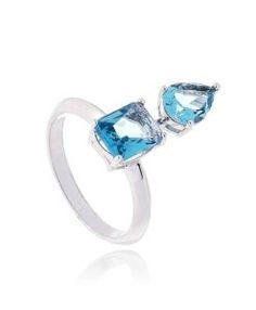 anel com pedra azul clara agua marinha zirconias semijoias