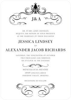 Haute Heraldry - Signature White Wedding Invitations - East Six Design - Black : Front