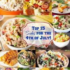 The top 15 side dish recipes for your of July party! These side dishes work well for any summer BBQ or get together you host this season. 4th Of July Desserts, Fourth Of July Food, 4th Of July Party, July 4th, 4th Of July Food Sides, Patriotic Party, Patriotic Decorations, Summer Recipes, Holiday Recipes