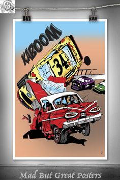 KABOOM - Thomas Spencer, original poster, vintage, wall art, home decor, gift, kids room, travel, fine art, illustration, transport prints by MadButGreatPosters on Etsy
