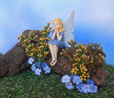 Blue Flower Fairy Garden