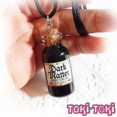 Dark Matter Bottle Necklace Pastel Goth Necklace by MadeByTokiToki Glass Bottle Crafts, Glass Vials, Diy Bottle, Bottle Art, Bottle Jewelry, Bottle Charms, Goth Jewelry, Fairy Jewelry, Jewellery