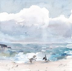 """Daily Paintworks - """"Dogs by the seaside"""" - Original Fine Art for Sale - © Anna Tikhomirova"""