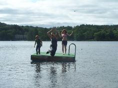 Jumping off rafts in the middle of the lake!