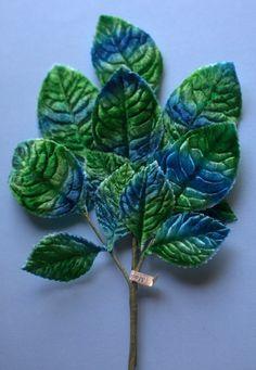 Terciopelo hojas Vintage japonesa en azul verde por MaryNotMartha