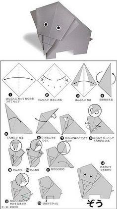 Easy origami for for kids….un lindo elefante de origami para – Easy origami for kids …. A beautiful origami elephant for – Origami Design, Origami Tutorial, Instruções Origami, Origami Simple, Easy Origami For Kids, Origami Paper Art, Origami Bookmark, Origami Folding, Useful Origami