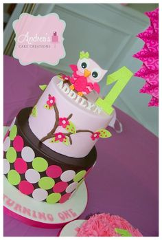 First Birthday Owl Cake - by Andrea'sCakeCreations @ CakesDecor.com - cake decorating website