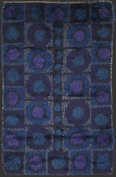 modernist RYA rug, anonymous, hand-made, Scandinavian, probably Sweden, 1950/60ies, ca. 4' 6'' x 2' 10''