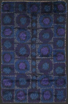modernist RYA rug, anonymous, hand-made, Scandinavian, probably Sweden, 1950/60ies, ca. 4' 6'' x 2' 10''