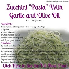 """Zucchini """"Pasta"""" with Garlic & Olive Oil: True, you can make this with regular ol' pasta if that's your thing. Since I'm gluten-free, I make my own pasta using raw zucchini and a Julienne Slicer for a delicious pasta-like meal that gives me some extra nutrients from the veggies. Of course, you can also add in some cooked chicken if you like a little extra protein with your pasta. Enjoy this as a part of my PiYo Meal Plan! Recipe here…"""