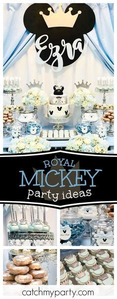 Take a look at this amazing Royal Mickey Mouse Party! The dessert table and backdrop are stunning!! See more party ideas and share yours at CatchMYParty.com #mickeymouse #prince #boybirthday