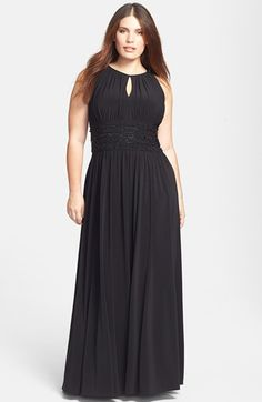Jessica Howard Beaded Jersey Gown (Plus Size)