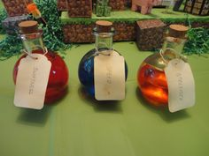 "Minecraft beverages. This was the ""potion"" for my son's Minecraft party. Each child was given a glass potion bottle filled with Sprite (and food coloring). I bought cheap labels then dyed them in tea to make them look old and gross. The kids loved it! While they played in the fort, they pretended to have the power from the potion!"