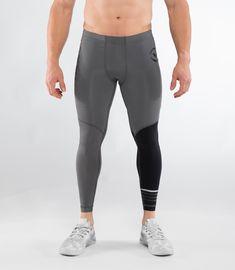 OMM Flash Mens Black Compression Running Sports Long Tights Bottoms Pants