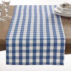 Saro Lifestyle Gingham 72-Inch Table Runner   Bed Bath & Beyond Blue Kitchen Curtains, Gingham Wedding, Casual Table Settings, Purple Table, Lace Table Runners, Table Linens, Color Pop, Bath