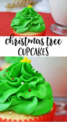 These cute and delicious Christmas Tree Cupcakes are perfect for holiday celebrations. #Christmas #cupcakes