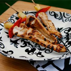 """""""Chicken daggers"""" for a pirate themed main course. Create chicken kebobs with red peppers and pineapple pieces."""