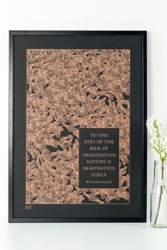 Sycamore pattern screenprint in copper on black with quotation from William Blake