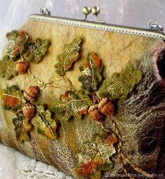 """Купить Сумка ручной работы """"Дубрава"""" - осень, коричневый, песочный, подарок, сумка, вышивка, листья"""