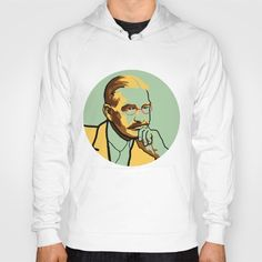 Literature men's and women's hoody / sweatshirt portrait of L. Frank Baum, author of The Wizard of Oz, in green and yellow.