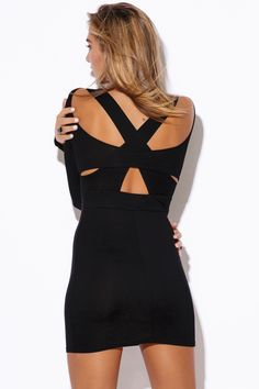 LAST NIGHT | black cut out open back fitted bodycon backless club mini dress - 1015store.com