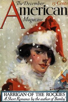 Flapper Ready to Be Santa--Vintage American Magazine Cover