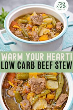 You can cook this savory low carb beef stew to warm your heart a bit. Plus it happens to be keto-friendly! #easyrecipes #onthetable #lowcarbstew #stewrecipes #dinner Low Carb Recipe Books, Low Carb Chicken Recipes, Healthy Low Carb Recipes, Beef Recipes, Soup Recipes, Low Carb Beef Stew, Easy Beef Stew, Low Carb Chili, Cold Meals