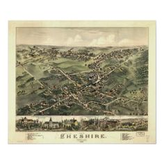 Cheshire Connecticut 1882 Antique Panoramic Map Posters