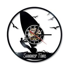 Surfing Art Vinyl Wall Clock Battery Operated For Bedroom Modern Record Vintage Clocks Silent With Color Changing Light Vinyl Music, Vinyl Records, Color Changing Lights, Record Wall, Clock Art, 3d Laser, Surf Art, Beach Scenes, Make Design