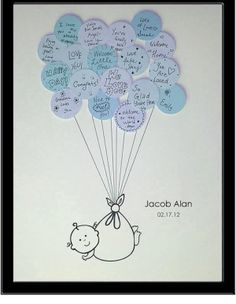 Boy oh Boy baby shower. Super cute guest book!! super cute and cheap!! I am gonna make the baby in color rather than black and white and use craft paper to make the balloons prettier
