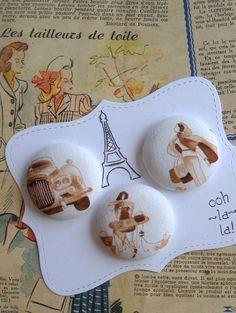Sepia color Paris fabric covered button collection by howbeadyful