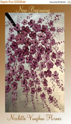 Original Contemporary modern impasto abstract art acrylic on canvas painting  Title...Beyond Belief Dimensions: 36x24x 3/4 Background color is metallic silver,then on top are thick impasto eggplant blossoms.Looks great with direct lighting and with regular lighting with shimmer and change color as the light source in the room changes throughout the day. High quality gallery wrapped canvas with back staples, edges painted black - Ready to hang on wall  I use only the finest quality high g...