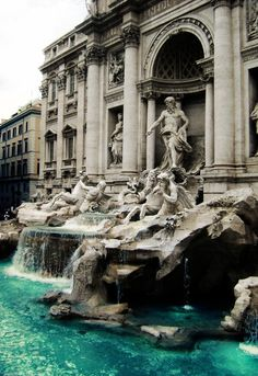 The Trevi Fountain (Fontana di Trevi), Rome, Italy (It was constructed in 1732.)