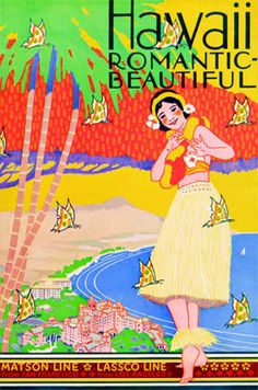 Hawaii, Romantic and Beautiful travel posters