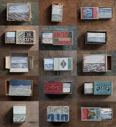"Saatchi Online Artist: David Cass; Painting, 2012, Assemblage / Collage ""Gathered Seconds I (Matchbox Seascapes 2011 - 2012)"""