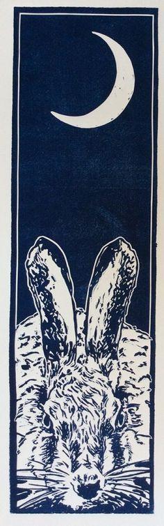 Waxing Moon - Linocut print. Sarah Cemmick
