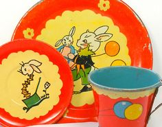 Bunny Birthday Party 1930's tea set by Fern Bisel Peat