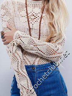 пуловер крючком от free people 2