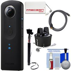 """Ricoh Theta S 360-Degree Spherical Digital Camera (Black) with 360 Time Lapse + Power Pack + Selfie Stick + HDMI Cable + Kit. KIT INCLUDES 6 PRODUCTS -- All BRAND NEW Items with all Manufacturer-supplied Accessories + Full USA Warranties:. [1] Ricoh Theta S 360-Degree Spherical Digital Camera (Black) +. [2] Veho Muvi 360 Time X-Lapse +. [3] Sunpak 43"""" Wired Selfie Wand + [4] PD 5000mAh Power Bank +. [5] PD 5pc Complete Cleaning Kit + [6] HDMI to Micro-HDMI Cable (6')."""