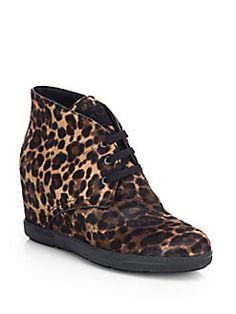 Prada - Leopard-Print Calf Hair Wedge Sneakers